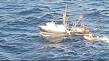 Coast Guard crews rescued sinking fishing boat