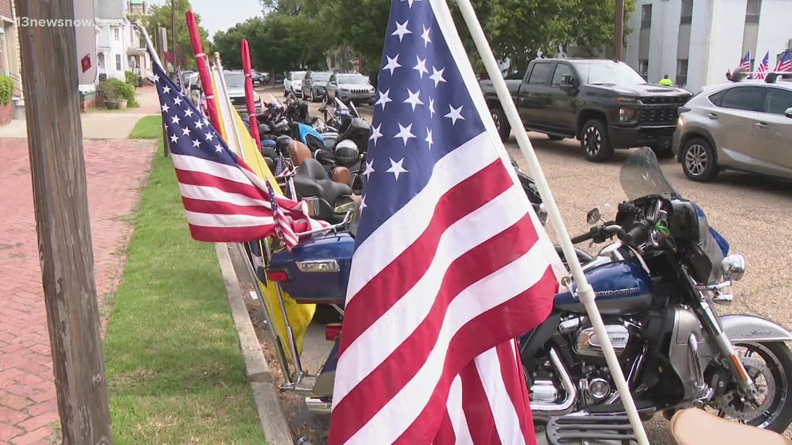 Patriot Guard Riders honor Navy sailor with flags at funeral
