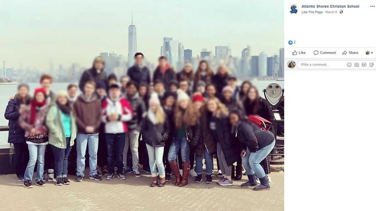 Atlantic Shores Christian School blurred class trip photo