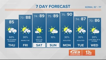 13News Now Weather at Noon for Aug. 15