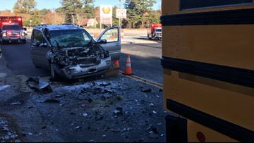 Driver injured, charges pending after vehicle crashes into Gloucester school bus