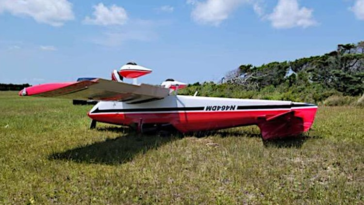 Small airplane flips over after landing at airport on Outer Banks