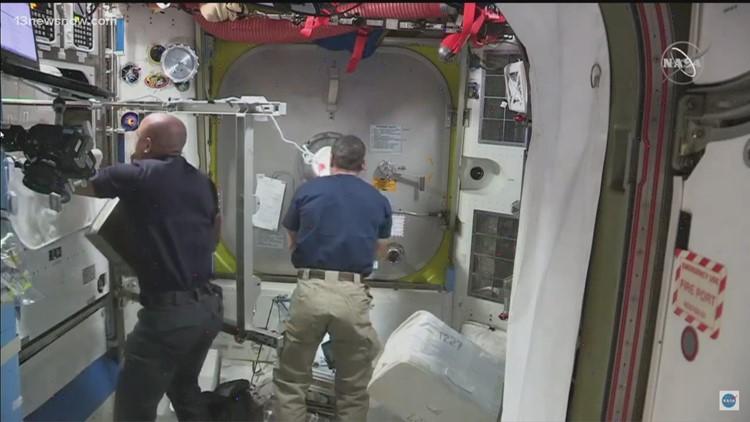 Astronauts preparing for spacewalk on International Space Station