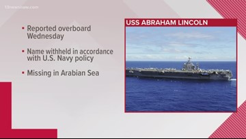 Search for sailor who fell overboard from USS Abraham Lincoln