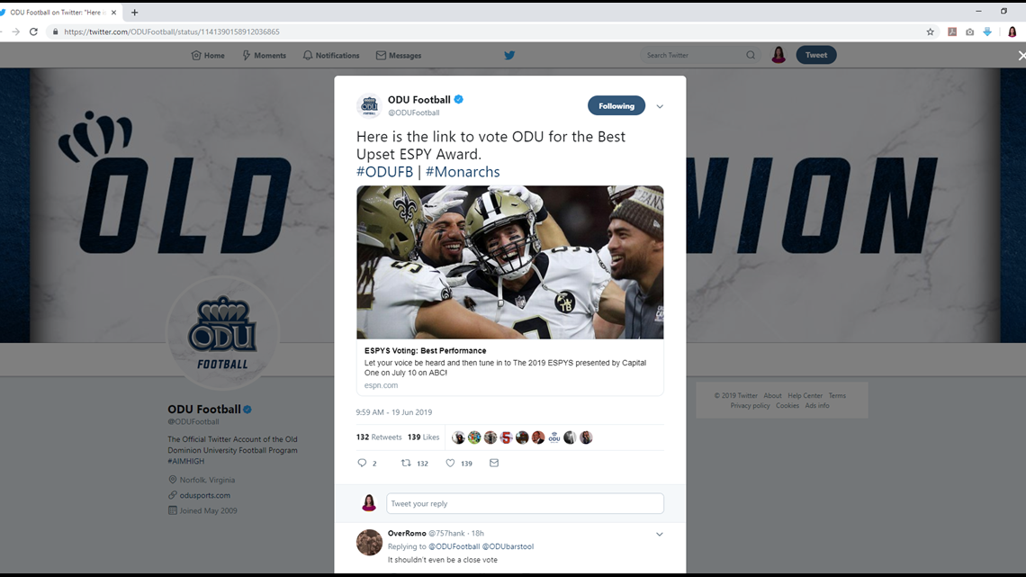 Old Dominion University's football team is nominated for an ESPY