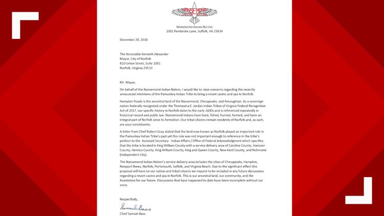 Nansemond Tribes Letter