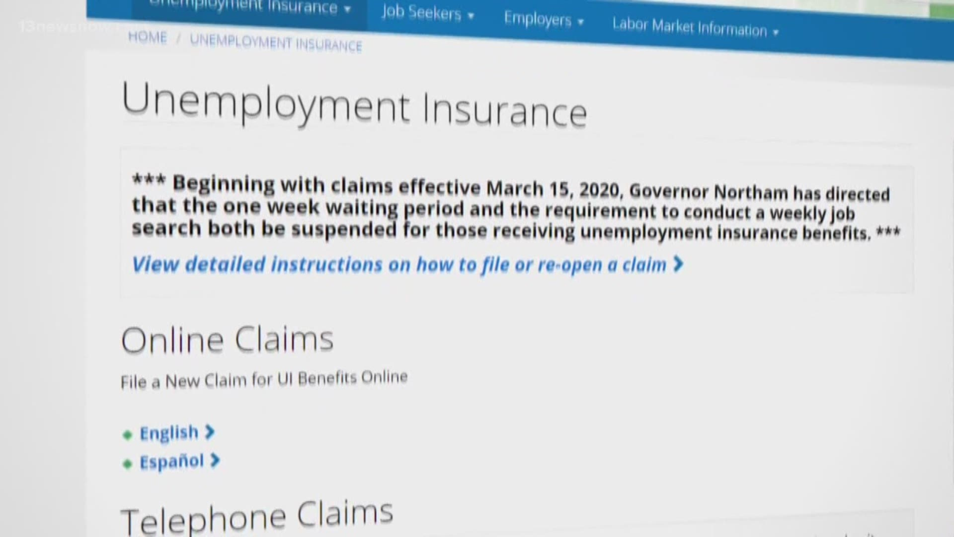 Virginians Report Problems Receiving Unemployment Benefits Missing Pins And Damaging Delays 13newsnow Com