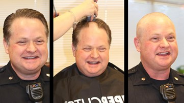 Newport News police raise $1000 for United Way; officer shaves head