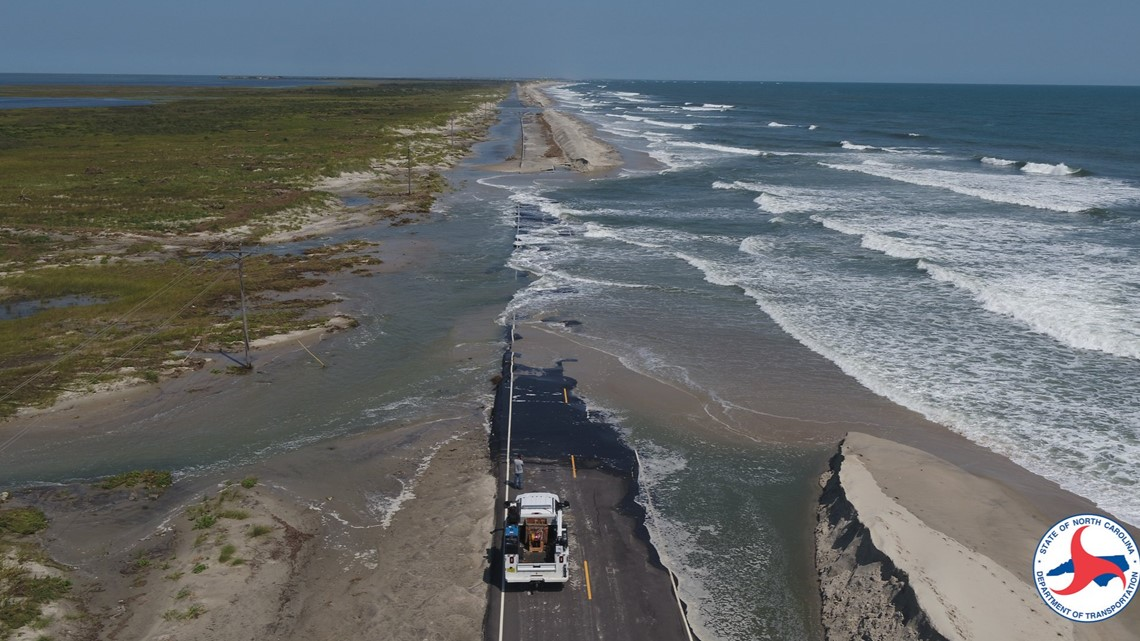 Drone Images Show Washouts Of NC 12 Highway On Ocracoke