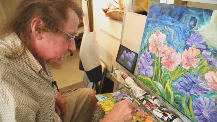 His right hand went numb after a stroke. Now, an artist from Portsmouth creates impressionist masterpieces.