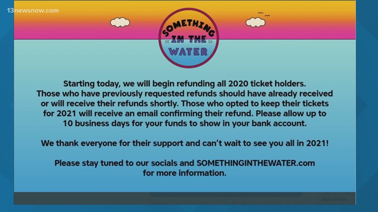 All Something in the Water 2020 ticket holders to get refunds