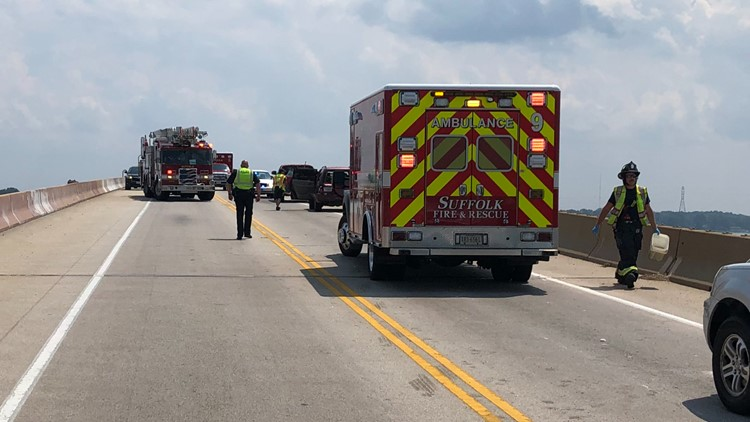 Eight people hospitalized following 3-vehicle crash in Suffolk