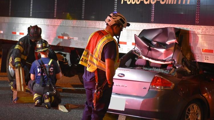 Hampton Fire & Rescue responds to two-vehicle crash involving 18-wheeler