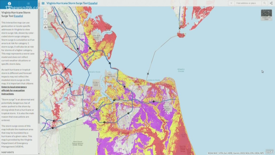 Interactive Map Of Virginia.Be Prepared Virginia Hurricane Storm Surge Tool 13newsnow Com