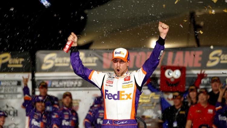 Hamlin holds off Elliott, takes first NASCAR win in Vegas