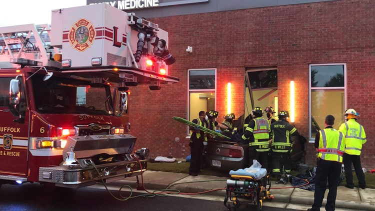 Driver critically injured after vehicle crashes into medical building in Suffolk