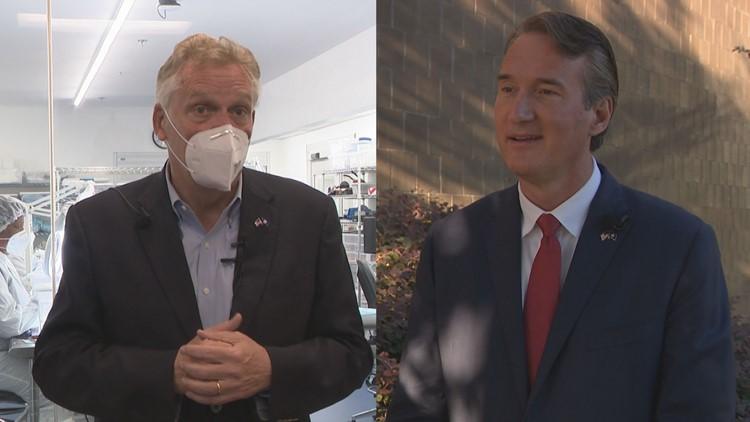 Terry McAuliffe, Glenn Youngkin in Hampton Roads Saturday as election day draws near