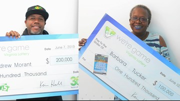 Newport News man, Virginia Beach woman win big from Virginia