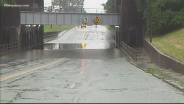 Bainbridge Boulevard closed at Triple Decker Bridge underpass due to flooding