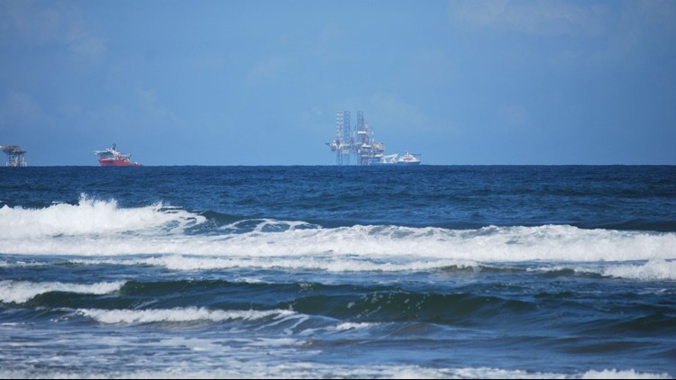 Oil rigs in the southern Gulf of Mexico, seen from Varadero Beach in the Mexican state of Tobasco.
