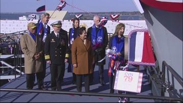 Caroline Kennedy officially christens newest aircraft carrier John F. Kennedy