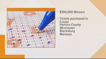 Virginia Lottery: Three $1 million winners