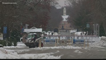 Williamsburg visitors and locals enjoy and battle the winter snow