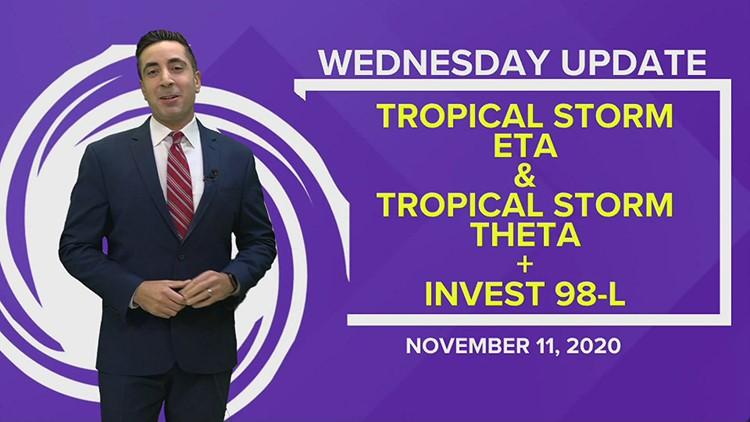 Tropics Update: Tropical Storms Eta and Theta, Invest 98-L expected to become Iota