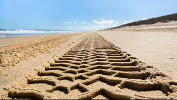 Sports cars no match for Outer Banks' beach sand