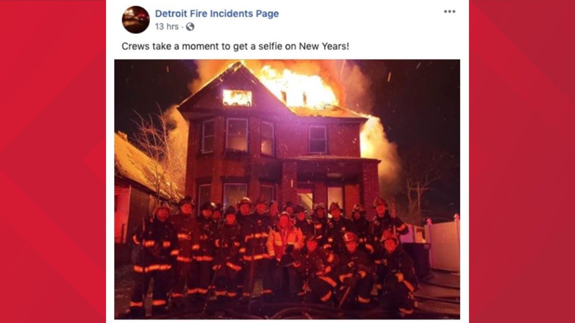Firefighters In Detroit Post In Front Of Burning House On Nye 13newsnow Com